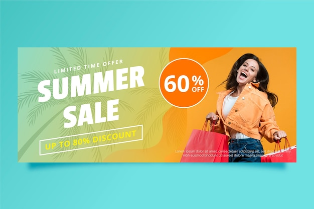 Gradient summer sale banner template with photo