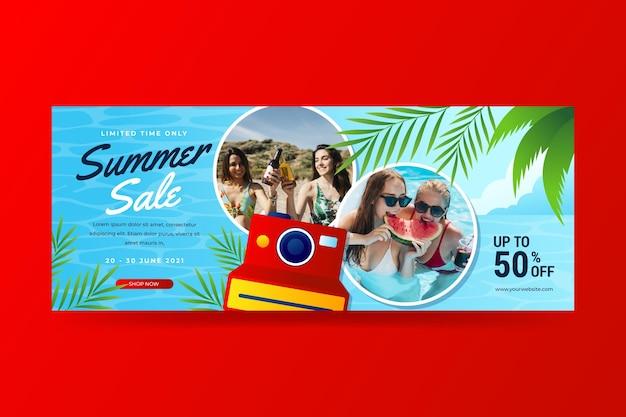 사진과 함께 그라데이션 여름 판매 배너 서식 파일