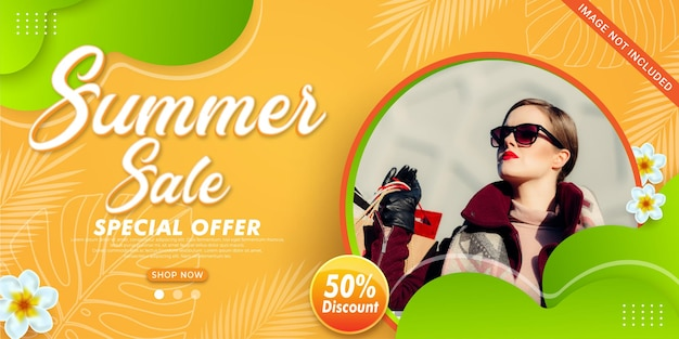 Gradient summer sale banner with photo