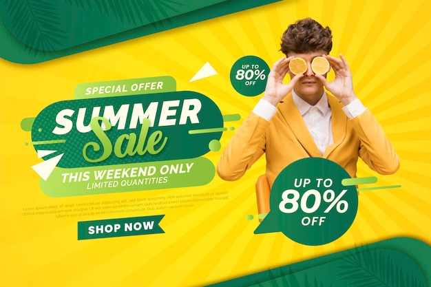 Gradient summer sale banner with photo Free Vector