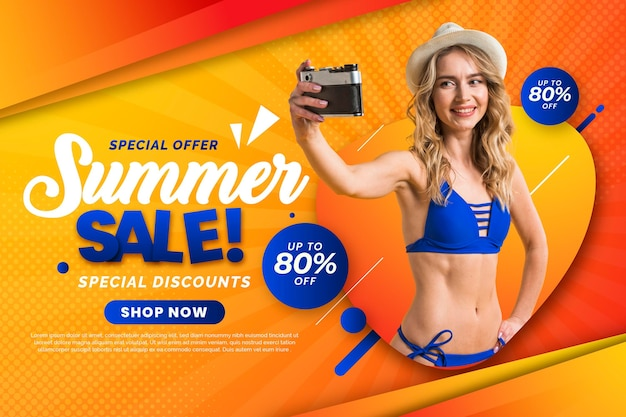 Gradient summer sale banner with photo