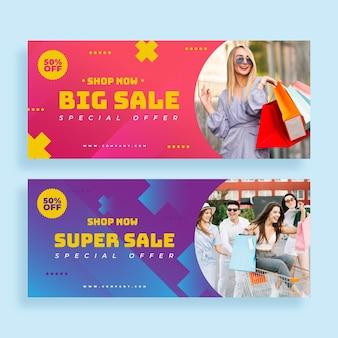 Banner di vendita super sfumati con foto