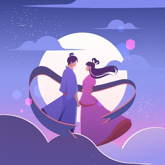 Gradient tanabata celebration illustration