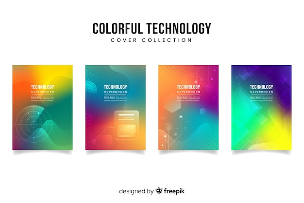 Gradient technology concept cover collection
