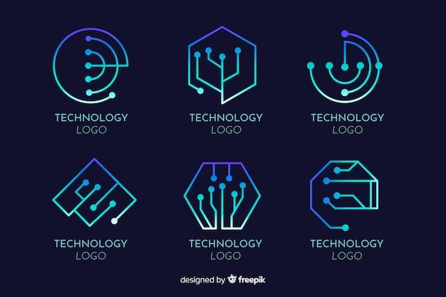 Gradient technology concept logotype collection