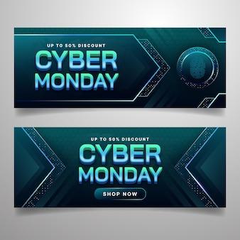 Set di banner orizzontali di cyber lunedì con tecnologia sfumata