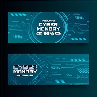Набор горизонтальных баннеров градиентной технологии cyber monday