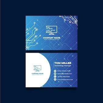 Gradient technology horizontal business card