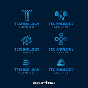 Gradient technology logo template collection