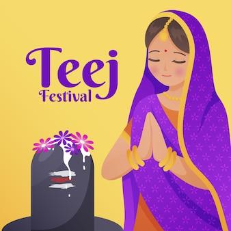 Illustrazione di celebrazione del festival di gradiente teej