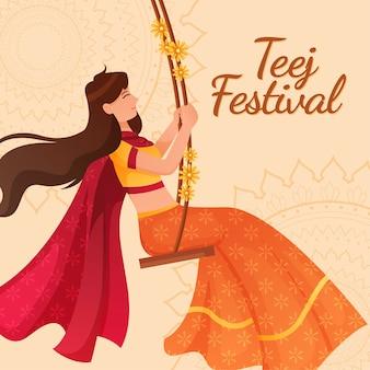 Gradient teej festival celebration illustration