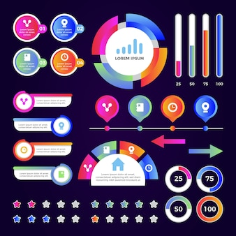 Gradient template infographic element collection