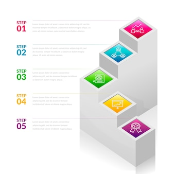 Gradient template infographic steps