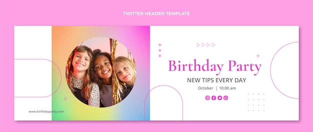 Градиент текстуры день рождения твиттер заголовок