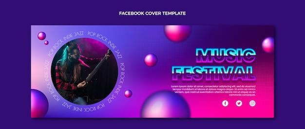 Gradient texture music festival facebook cover