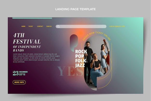 Gradient texture music festival landing page template