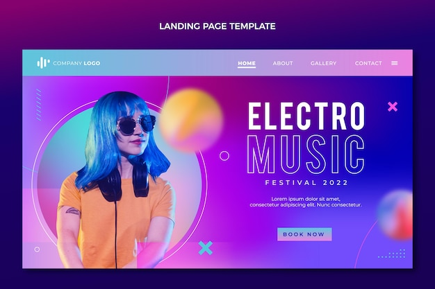 Gradient texture music festival landing page Free Vector