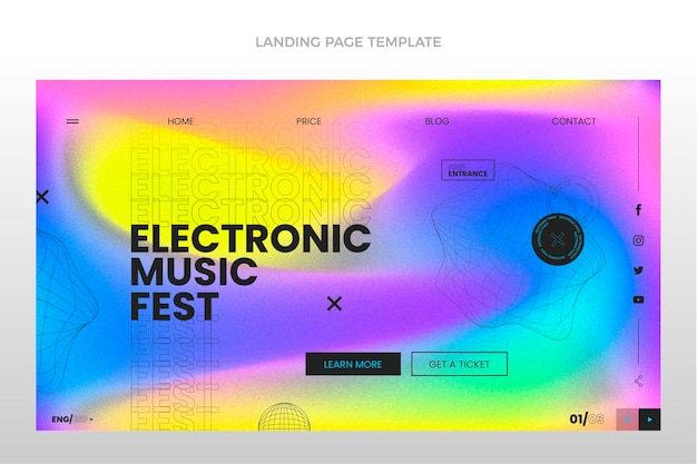 グラデーションテクスチャ音楽祭のランディングページ