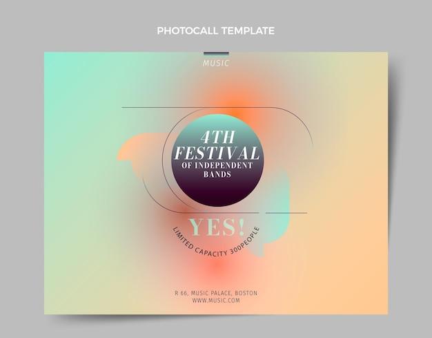 Шаблон фотосессии музыкального фестиваля градиентной текстуры