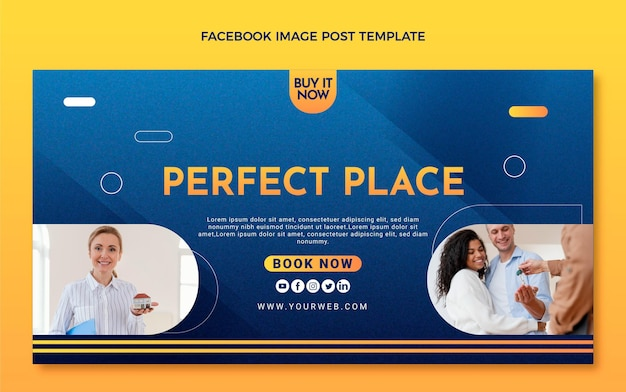 Gradient texture real estate facebook post
