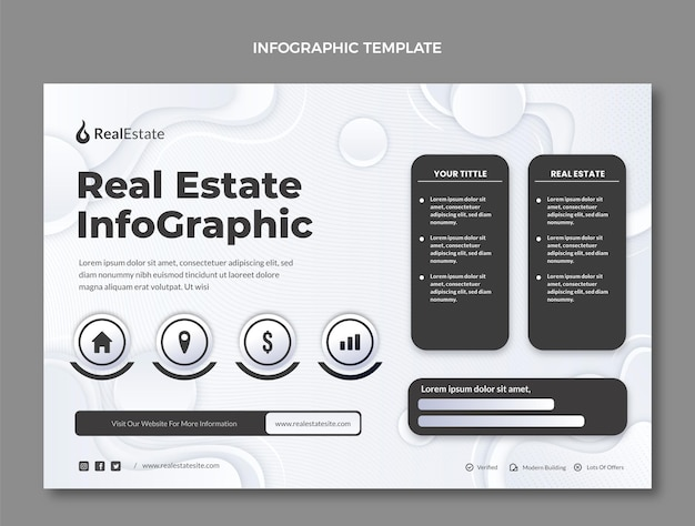 Gradient texture real estate infographic