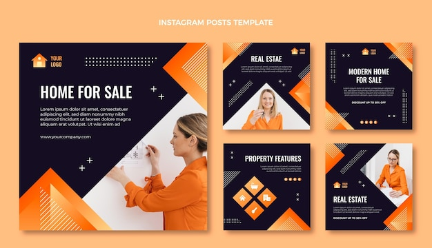 Gradient texture real estate instagram post Free Vector