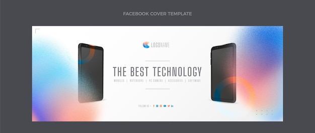Gradient texture technology facebook cover