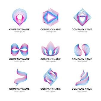 Gradient thin line logo collection