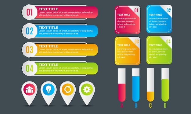 Gradient time line infographic element collection
