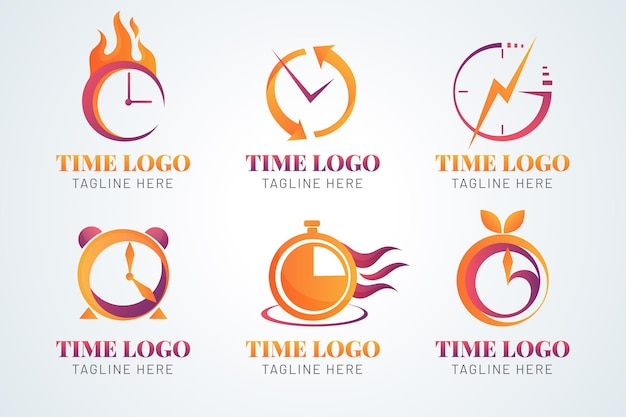 Gradient time logo collection