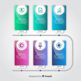 Gradient timeline infographic colorful template