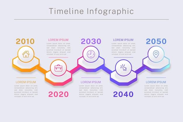 Градиентная инфографика шкалы времени в разных цветах