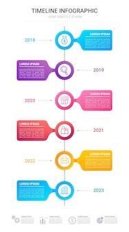 Timeline gradiente infografica per la presentazione
