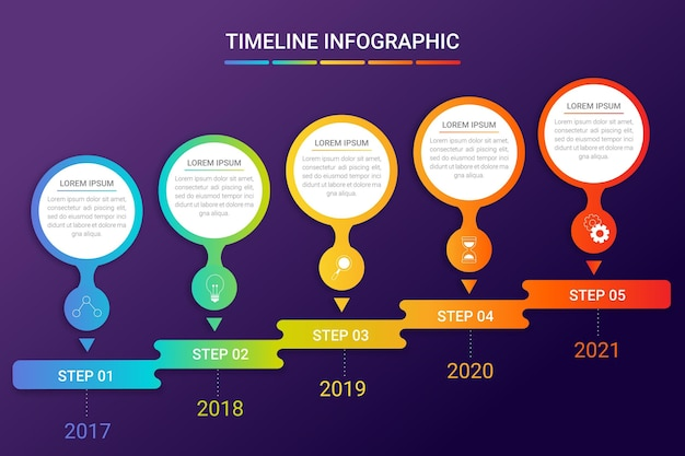 Modello di infografica timeline gradiente Vettore gratuito
