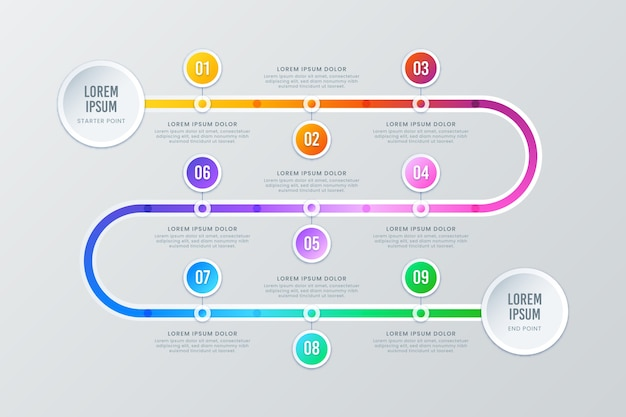 Gradient timeline infographic with numbers