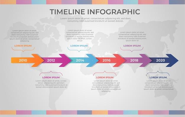 Градиентная временная шкала инфографики Бесплатные векторы