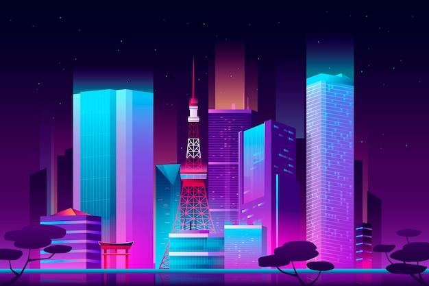 Gradient tokyo skyline with neon lights