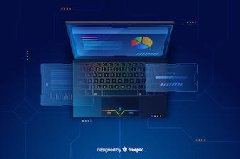 グラデーショントップビューラップトップ技術の背景