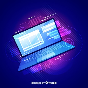 Gradient top view laptop technology background