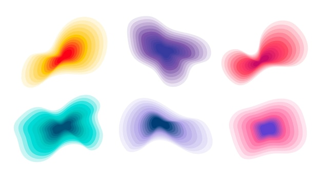 Gradient topographic abstract shapes set