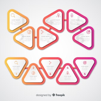 Gradient triangle infographic steps and copy space boxes