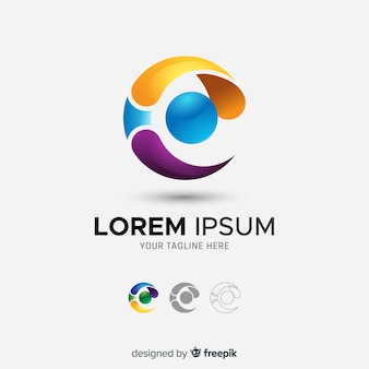 Gradient tridimensional abstract company logo