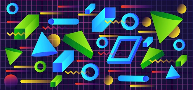Gradient tridimensional shapes in retro style