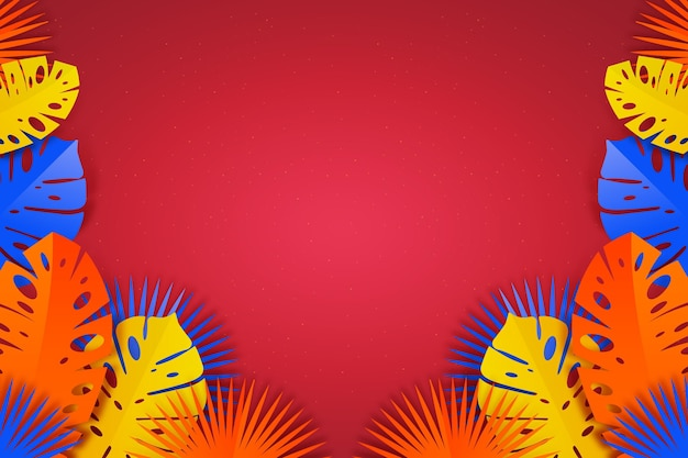 Gradient tropical leaves background Free Vector