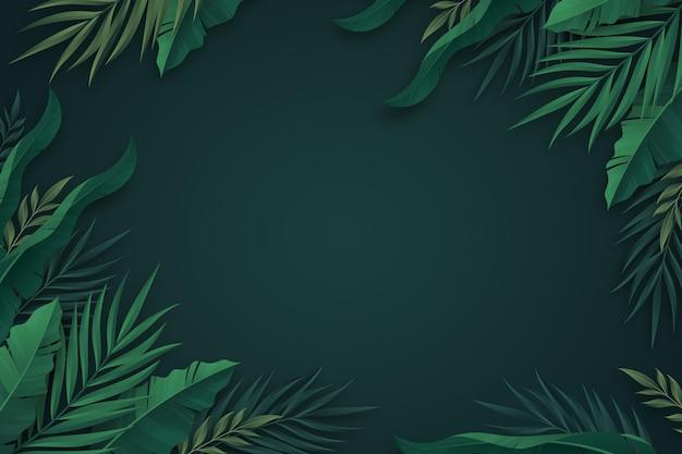 그라데이션 열 대 잎 배경