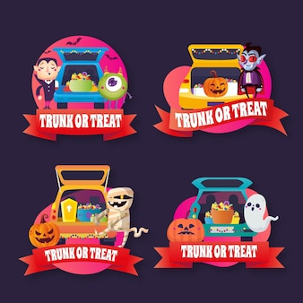 Gradient trunk or treat badges collection