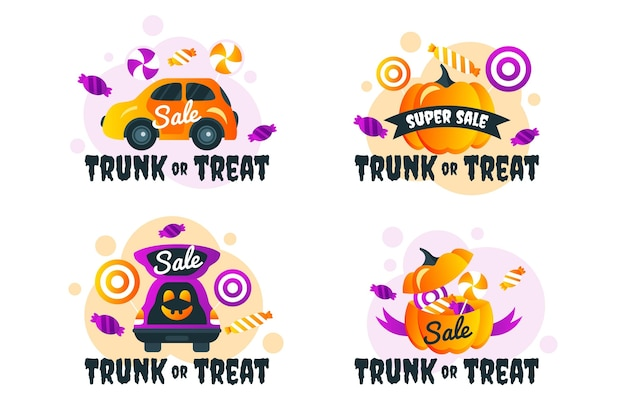 Gradient trunk or treat labels collection