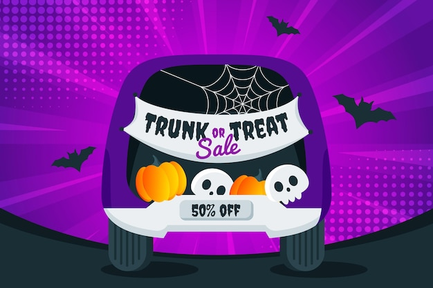 Gradient trunk or treat sale illustration