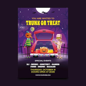 Gradient trunk or treat vertical poster template