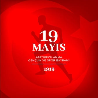 Gradient turkish commemoration of ataturk, youth and sports day illustration